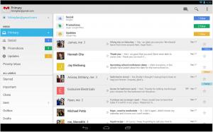 Gmail lukeutui nyt päivittyneisiin sovelluksiin. Tässä kuvassa sovelluksen tablettiversio.