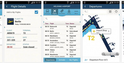 Helsinki Airport -sovellus Android-versiona