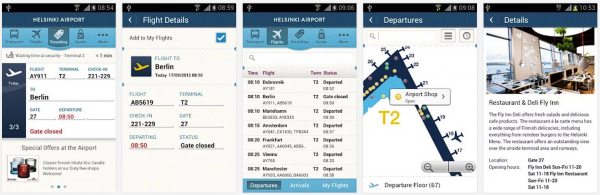 Helsinki Airport -sovellus Android-versiona