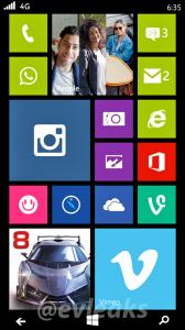 Lumia 635:n aloitusnäkymä @evleaksin vuotamassa kuvassa