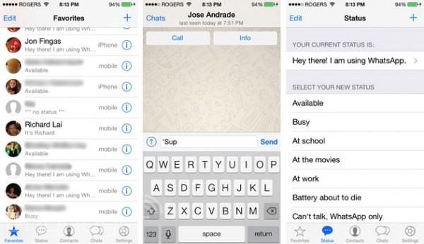 WhatsAppin uusi Applen iOS 7:n mukainen ilme