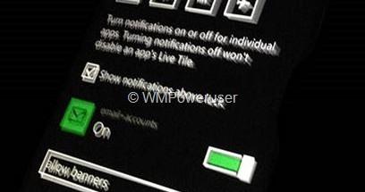 Windows Phone 8.1:n ilmoitusten ja pika-asetusten asetusnäkymä WMPoweruserin aiemmin julkaisemassa kuvassa