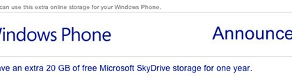 Windows Phone -käyttäjien saama SkyDrive-tarjous