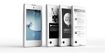 YotaPhonessa on etupuolella normaali kosketusnäyttö ja takana 16 harmaasävyn vähävirtainen E Ink -näyttö