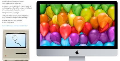 Apple juhlii Macin 30-vuotispäivää verkkosivustonsa etusivulla