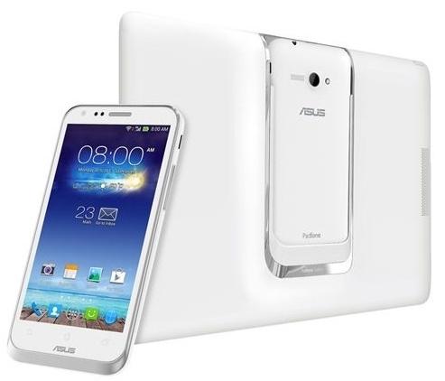 Asus Padfone E -älypuhelin ja tablettiosa valkoisena