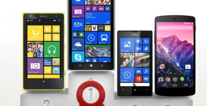 GSM Arenan älypuhelinten mestarien liigan tulokset: 1. Lumia 1520 2. Lumia 1020 3. Lumia 520 ja Nexus 5