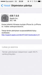 iOS 7.0.5 -päivityksen tiedot iPhone 5s:ssä