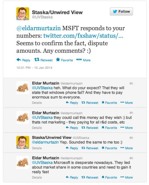Murtazin pysyy väitteissään ja syyttää Microsoftia markkinaosuuksista valehtelemisesta