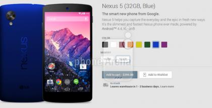 Nexus 5 sinisenä Phone Arenan julkaisemassa kuvassa