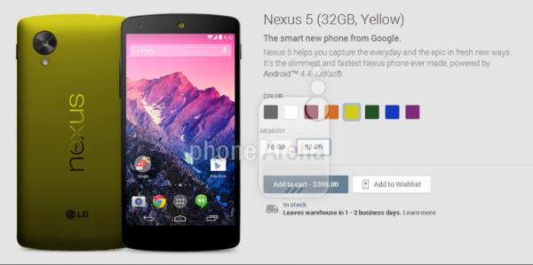 Nexus 5 keltaisena Phone Arenan julkaisemassa kuvassa