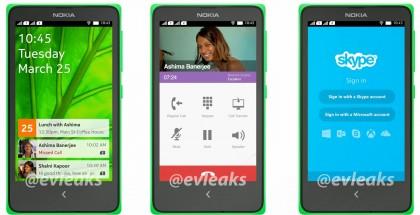 Nokian Android-käyttöliittymä + Androidin Viber- ja Skype-sovellukset @evleaksin aiemmin vuotamassa kuvassa