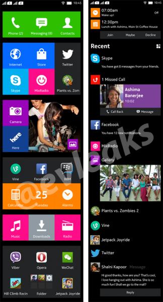 @evleaksin julkaisema kuva Nokian Normandy-puhelimen käyttöliittymän kahdesta eri päänäkymästä koko pituudeltaan
