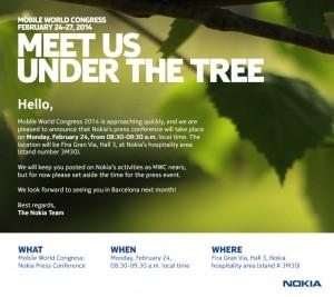 Nokian kutsu sen MWC-lehdistötilaisuuteen