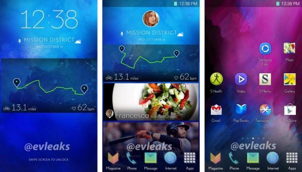 @evleaksin julkaisema kuva Samsungin tutkimasta uudesta käyttöliittymästä
