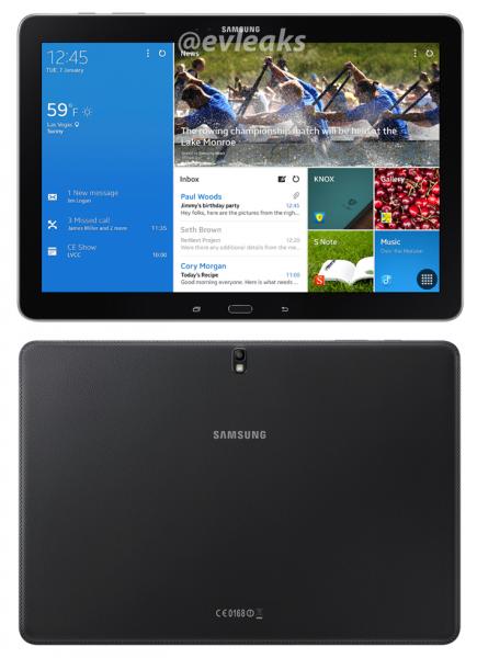 Samsung Galaxy Tab PRO 12.2 @evleaksin julkaisemassa kuvassa