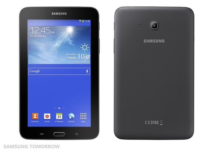 Samsung Galaxy Tab 3 Lite mustana edestä ja takaa