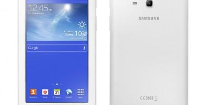 Samsung Galaxy Tab 3 Lite valkoisena edestä ja takaa