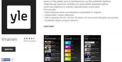 Yle Areena Windows Phonen sovelluskaupassa