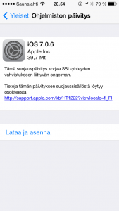 Apple iOS 7.0.6 -päivitys