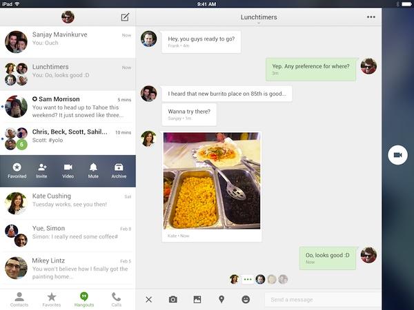Google Hangouts 2.0 Apple iPadissa: kaksiosainen keskustelunäkymä