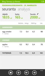 Kuvankaappaus Bing Terveys ja fitnessin syömisen seurantanäkymästä