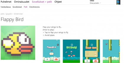 Flappy Bird -kopio Windows Phonen sovelluskaupassa