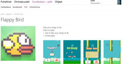 Flappy Bird -kopio Windows Phonen sovelluskaupassa