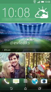 HTC:n M8:n uuden Sense 6.0 -käyttöliittymän BlinkFeed-kotinäkymä @evleaksin julkaisemassa kuvassa