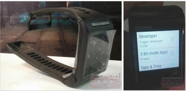 Motorolan kehittämä Google Watch -prototyyppi Android Policen julkaisemissa kuvissa