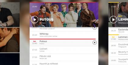 """Eri televisiokanavien ohjelmatiedot löytyvät vierekkäisistä """"korteista"""""""