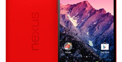 Nexus 5 punaisena värivaihtoehtona @evleaksin vuotamassa lehdistökuvassa - huomaa punaisen laajentuminen etupuolelle kuulokkeessa