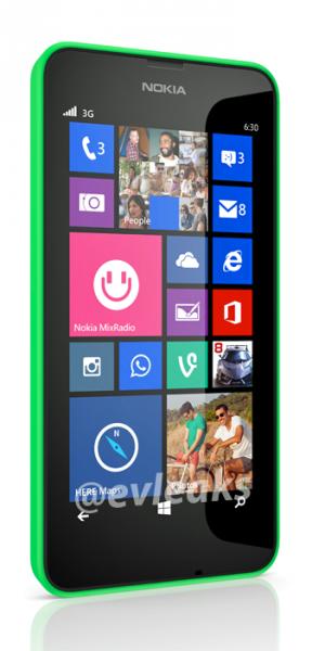 Nokia Lumia 630 @evleaksin julkaisemassa kuvassa