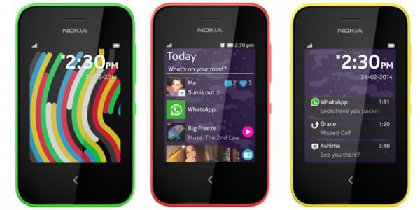 Nokia Asha 230 eri värivaihtoehtoina