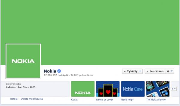 Nokian vihreä Facebook-sivu