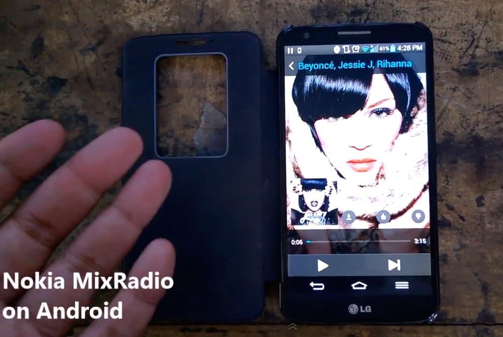 Nokia MixRadio toiminnassa LG:n G2-puhelimessa