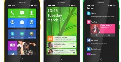 Nokian alkuperäinen X-käyttöliittymä: ruutukuvakkeista koostuva aloitusnäkymä, lukitusnäkymä ilmoituksilla sekä Fastlane-näkymä, joka kokoaa yhteen viimeaikaiset ja tulevat tapahtumat ja käytetyt sovellukset