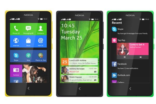 Nokian X-käyttöliittymä: ruutukuvakkeista koostuva aloitusnäkymä, lukitusnäkymä ilmoituksilla sekä Fastlane-näkymä, joka kokoaa yhteen viimeaikaiset ja tulevat tapahtumat ja käytetyt sovellukset