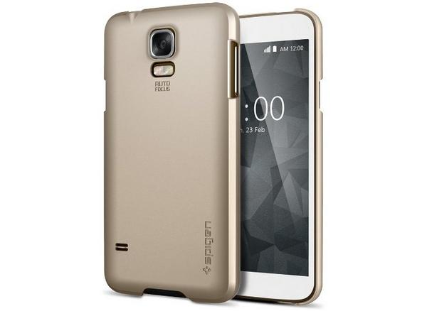 Samsung Galaxy S5 -suojakuori ja -puhelin ilman kotinäppäintä