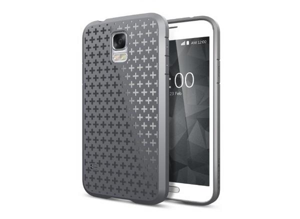 Samsung Galaxy S5 -suojakuori ja -puhelin kotinäppäimellä