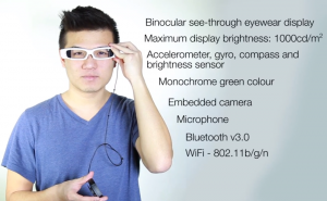 Sony SmartEyeglassin ominaisuuksia