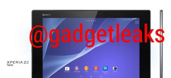 Sony Xperia Z2 -tabletti edestä ja sivulta @gadgetleaksin julkaisemassa kuvassa