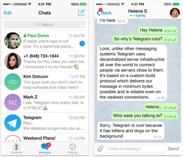Telegram Messenger muistuttaa myös WhatsAppia