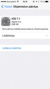 iOS 7.1 -päivitysilmoitus iPhone 5s:ssä
