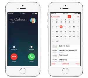 iOS 7.1:n uudistuksia: Saapuvan puhelun näkymän ilme on muuttunut ja Kalenteriin kuukausinäkymässä näkyvät nyt myös tapahtumat