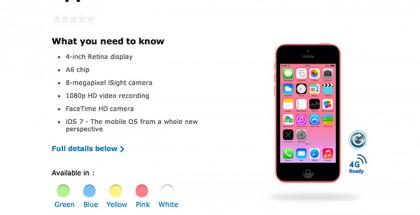 Apple iPhone 5c 8GB O2-operaattorin sivuilla