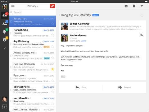 Gmail iPadissa