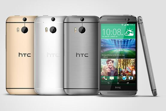 HTC One (M8) eri värivaihtoehtoina