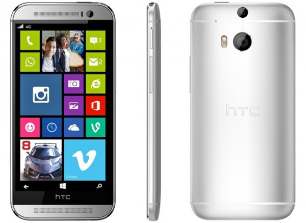 HTC One (M8) ja Windows Phone 8.1 yhdistettynä konseptikuvassa - ei oikea kuva HTC:ltä