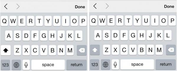 iOS 7.1:n shift-näppäin puhututtaa: vasemmalla se on painettuna ja oikealla ei